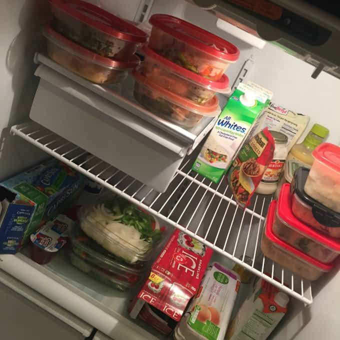 Fridge with meals prepped for the week