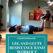 woman doing booty resistance band exercise
