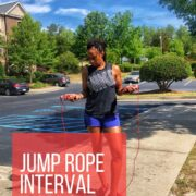 woman holding jump rope workout