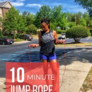 woman holding jump rope for interval workout